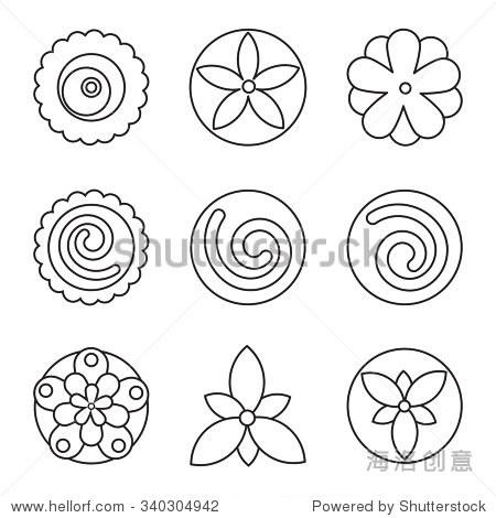 潮人几何圆形的花,花的设计元素,集隔离线性图形商标