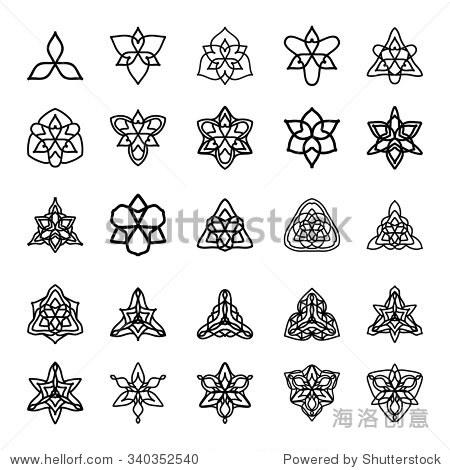 向量的黑白装饰图案设计.对称三角形符号.少数民族饰品收藏