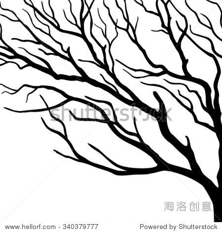 矢量剪影分支树的白色背景