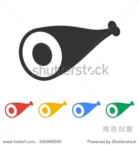 平面设计风格eps 10肉图标-物体,符号/标志-海洛创意