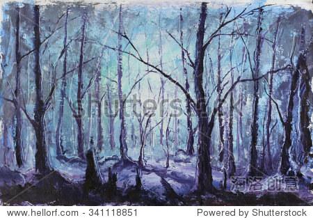 原始油画夜晚神秘的森林在画布上.厚涂的颜料艺术品.印象主义艺术.
