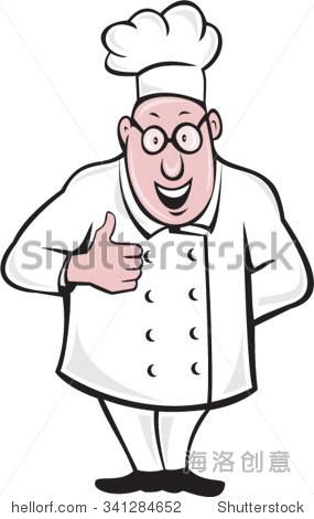 说明一个厨师厨师戴厨师的帽子和眼镜微笑的站做一个大拇指从前面设置