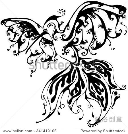 黑白色的手绘动物花卉嘟嘟鸟.