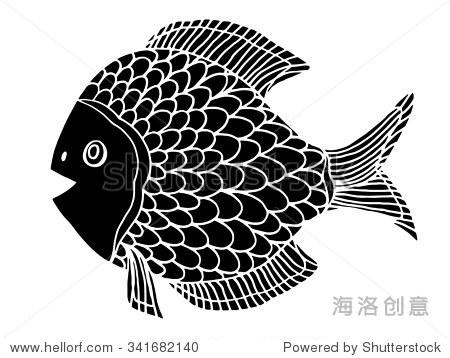 单色程式化的鱼.手绘涂鸦插图孤立在白色背景.素描纹身或makhenda.