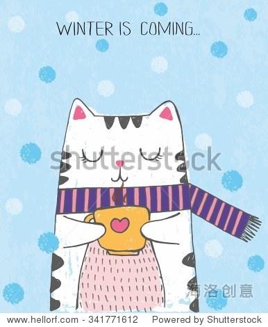 花 图片用彩色蜡笔画和钢笔 冬天即将来临 动物 野生生物,艺术 站