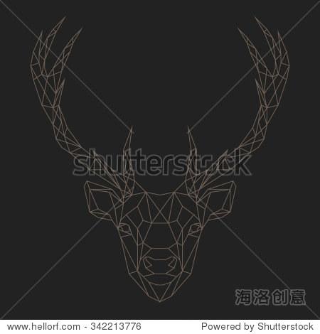 鹿头几何线条轮廓孤立在黑色背景的矢量插图设计元素