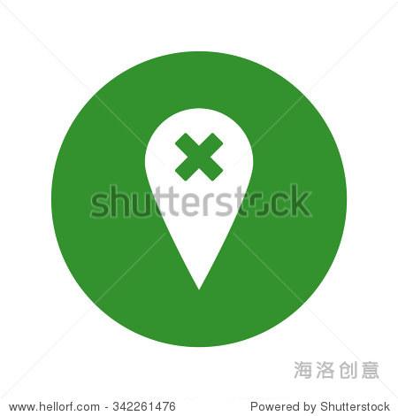 地图指针与十字架图标.矢量图