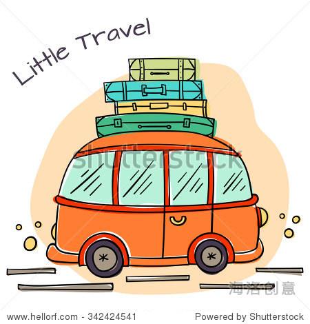 小卡通汽车行李和行李箱.