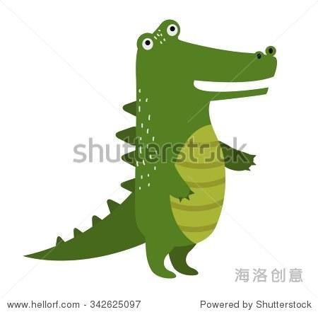 向量卡通可爱的鳄鱼孤立在白色背景.野生向量鳄鱼.丛林的绿色鳄鱼.