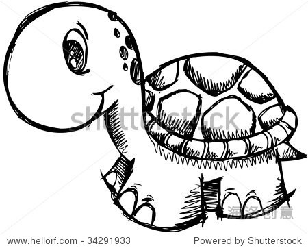 可爱的乌龟矢量插图