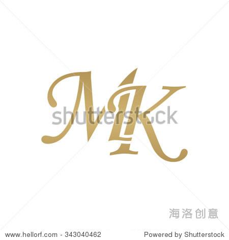 mk initial monogram logo图片