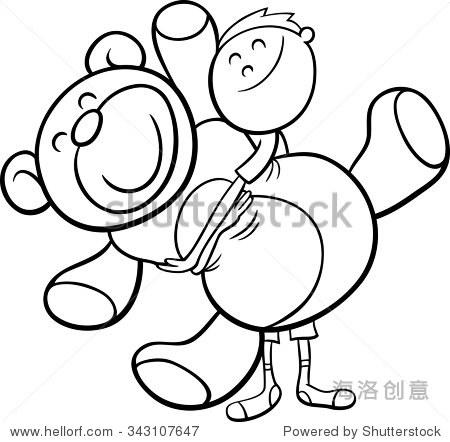 黑白卡通矢量图着色的可爱大可爱的泰迪熊的男孩的书