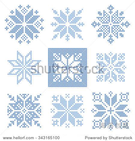 组9十字绣雪花模式,北欧风格.几何装饰刺绣.完美的圣诞设计.矢量图