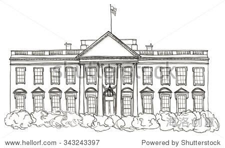 美国水彩手绘草图的白宫,华盛顿孤立