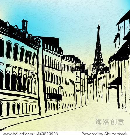 街的巴黎埃菲尔铁塔的观点.水彩