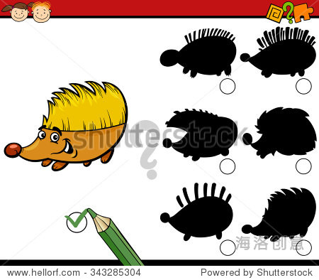 卡通插图的学龄前儿童教育的影子任务刺猬动物性格