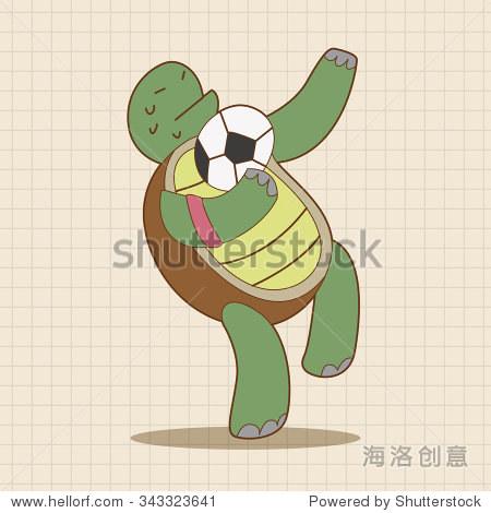 动物卡通主题元素踢足球