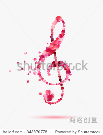 高音谱号的玫瑰花瓣 浪漫的音乐符号 艺术,符号 标志 海洛创意正