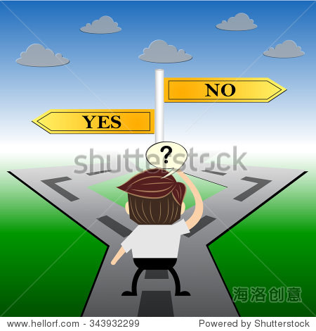metaphor humour design ,yes or no choice road sign concept图片