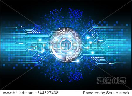 深蓝色的颜色光文摘技术背景为计算机图形网站网络和业务.电路.插图.