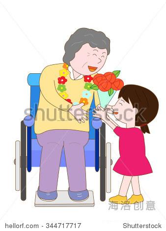 的孩子庆祝轮椅的老人