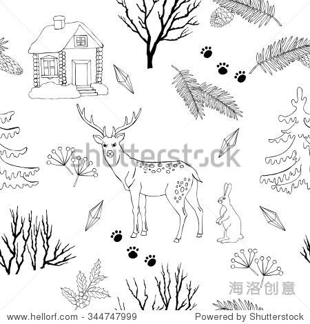 背景和圣诞节森林.手绘元素和鹿和圣诞树.矢量图