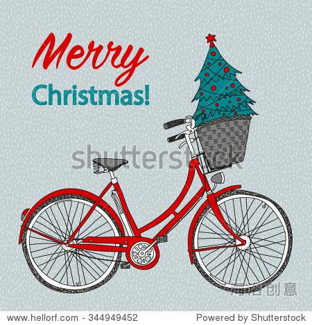 手绘向量夫人的城市自行车篮子和圣诞树