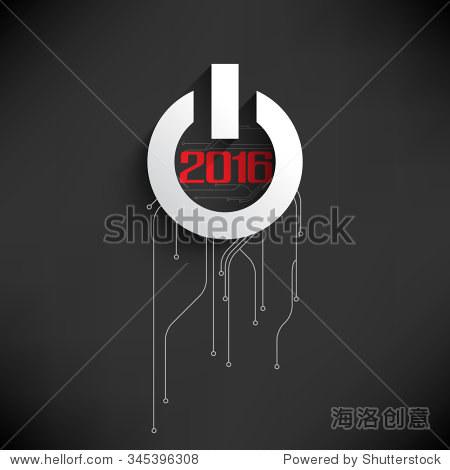 电路板和开始按钮元素平面设计在2016年新年庆典