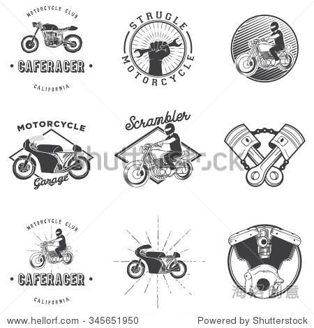 复古咖啡厅赛车摩托车图标标志徽章向量孤立