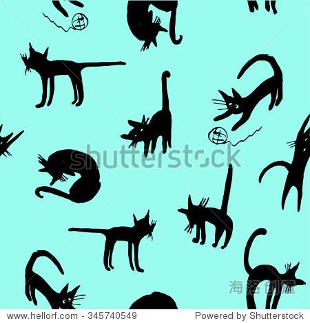 有趣的卡通背景无缝模式轮廓的黑猫手绘草图矢量图的各种姿势