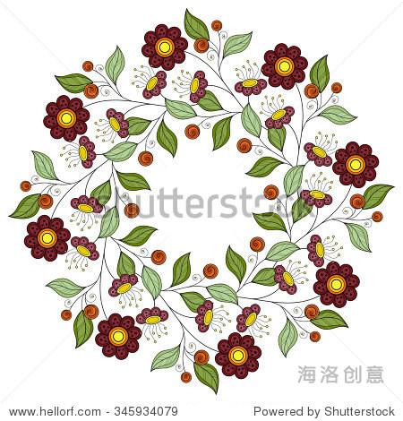 矢量彩色花卉背景.手绘装饰花环.贺卡的模板