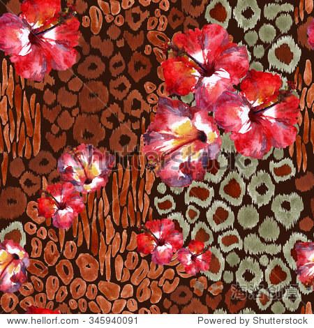 红花与动物点背景.狮子座斑点模式在黑暗的背景.手绘设计水彩