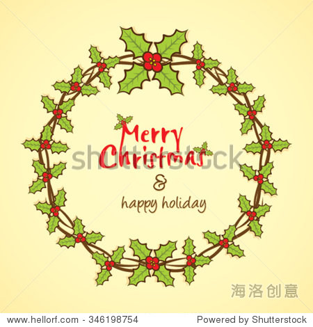 创意圣诞树枝和叶子圆形框架设计,贺卡设计向量