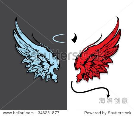 手绘天使和恶魔的翅膀
