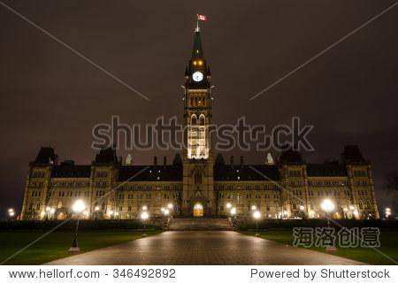 议会建筑物顶部夜晚,加拿大,渥太华.
