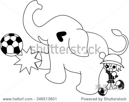 大象和大象踢足球教练的支持