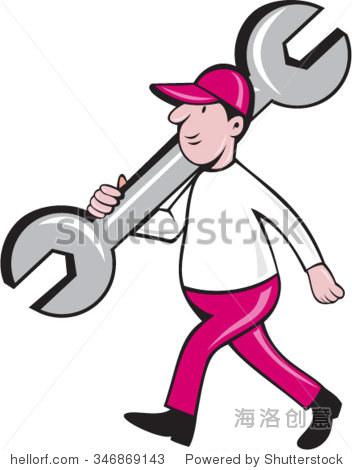 插图的技工戴着帽子控股活动扳手扳手的肩膀走从侧面上设置白色背景隔离在卡通风格 工业,人物 站酷海洛创意正版图片,视频,音乐素材交易平台 shutterstock