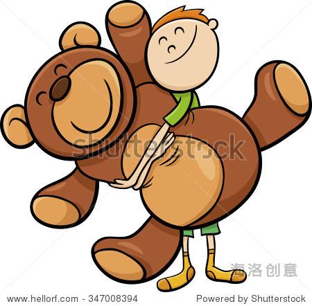 卡通矢量插图的可爱大男孩可爱的泰迪熊 - 物体,人物
