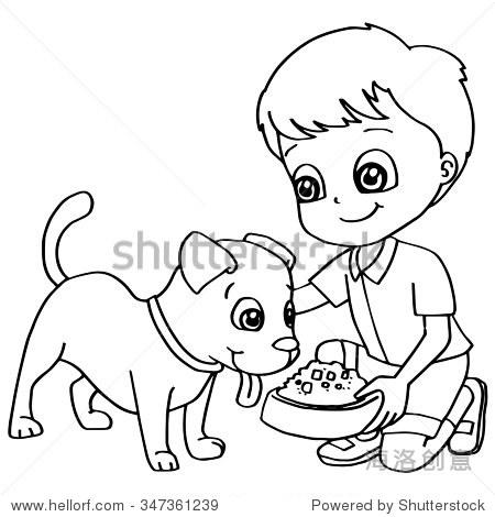 彩色书孩子喂养狗向量 - 动物/野生生物,人物 - 站酷