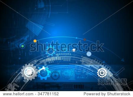 矢量插图齿轮,六边形和电路板,高科技数码技术和工程