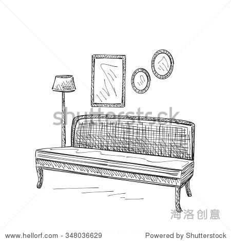 沙发手绘草图