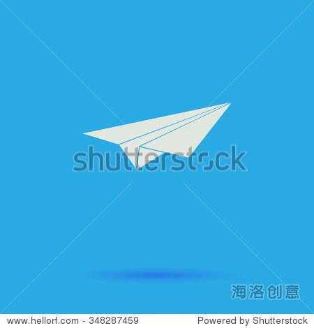 纸飞机的平面简单象形图在蓝色背景上的影子