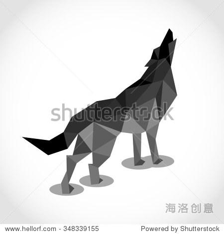 狼在多边形的风格.低聚设计三角形