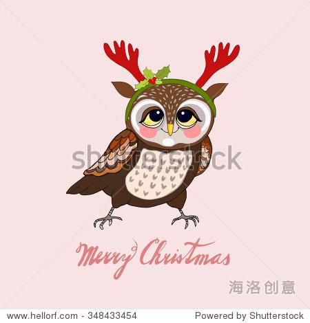 猫头鹰与鹿角,圣诞贺卡,手绘矢量插图