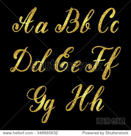 set of hand drawn letters with golden glitter effect isolated on