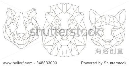 动物头三角形图标,几何时尚线设计.矢量图准备好纹身或彩色书.