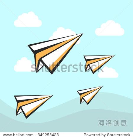 纸飞机图标背景.向量的天空和云