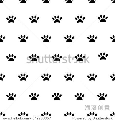 矢量插图动物足迹,爪子无缝模式