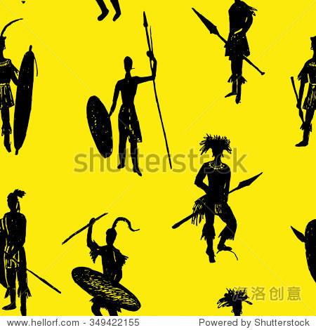 背景无缝模式非洲部落战士在战斗中西装和手臂画草图手绘在黄色背景矢