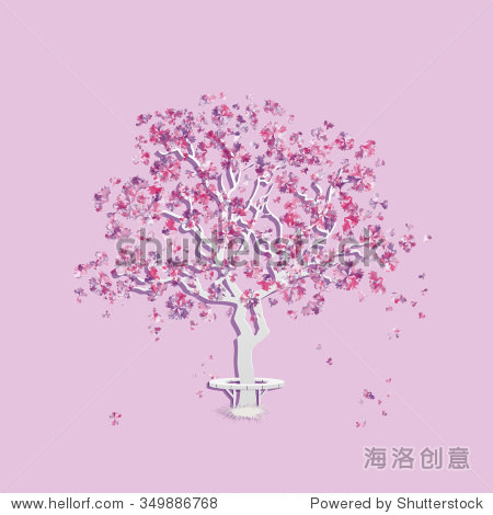 季节.春天的背景.水彩模仿.樱桃树或桃树.向量,eps 10